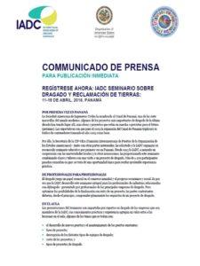Comunicado de Prensa Seminario Dragado CIP-IADC .PTY