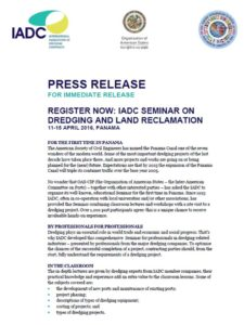 Press Release Dredging Seminar CIP-IADC PTY