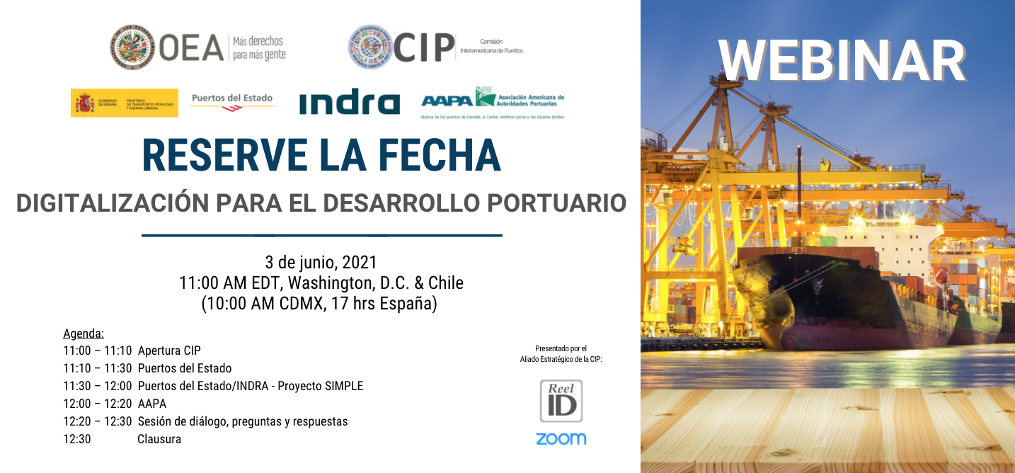 Banner Webinar Digitalizacion para el desarrollo portuario rev2
